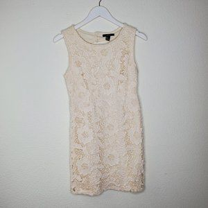 Forever 21 Cream Floral Overlay Fitted Dress